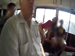 Truly crazy public sex in the bus with a naughty bitch Karmen Bella