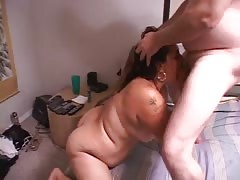 Filthy BBW slut takes his hard pole deep in her hole