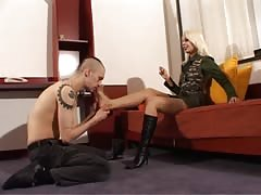 Sniffing on sweaty nylon stocking feet
