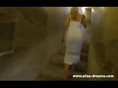 Flashing nude under my transparent dress in Pisa