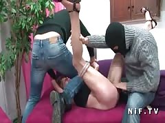 French mature hard double penetrated by 2 robbers