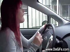 Redhead emo gf masturbates her cunt in car